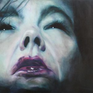 Gemälde / Painting: Björk 2 by Marion Rauter - (Öl auf Leinwand mit Spitzenapplikation / oil on canvas with lace applique)